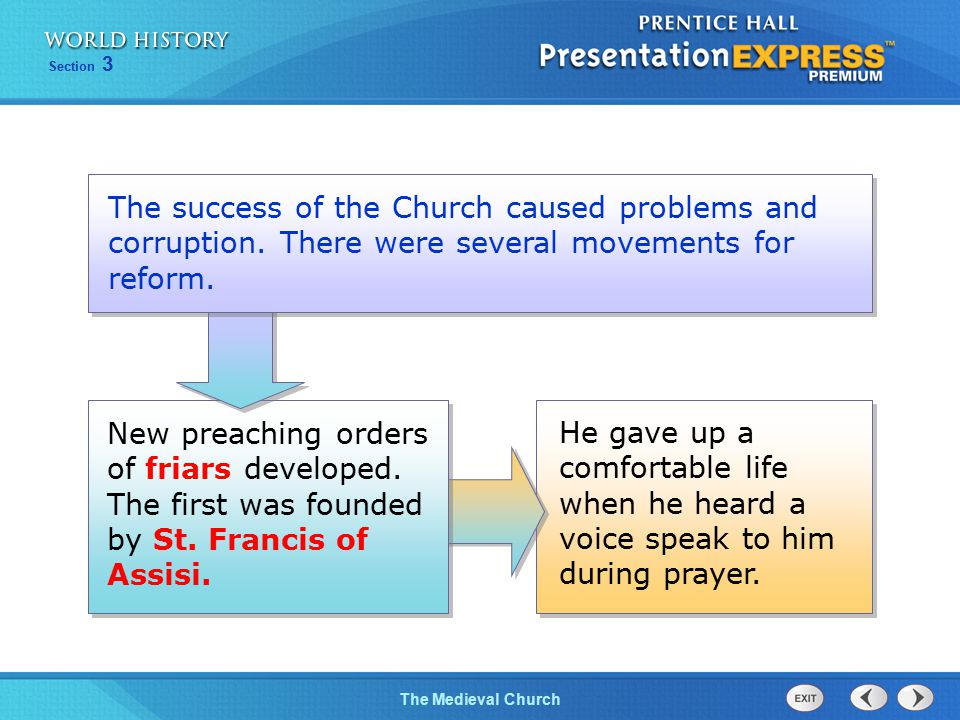 The success of the Church caused problems and corruption