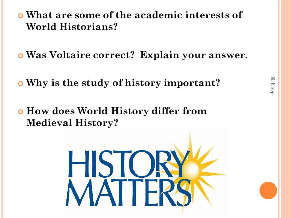 What are some of the academic interests of World Historians