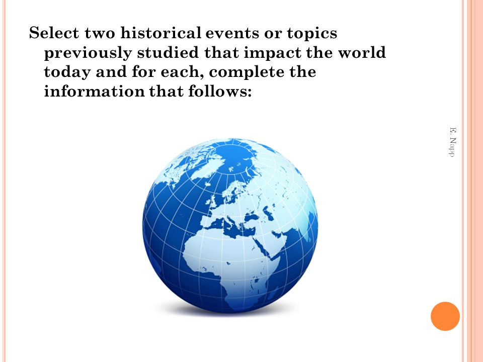 Select two historical events or topics previously studied that impact the world today and for each, complete the information that follows: