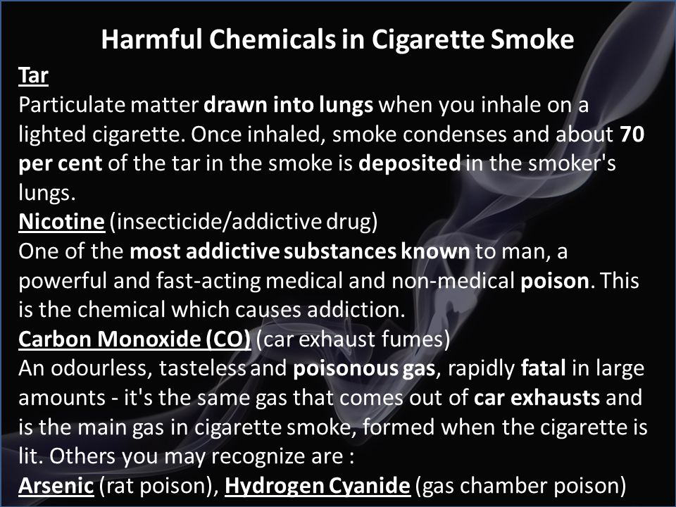 Harmful Chemicals in Cigarette Smoke
