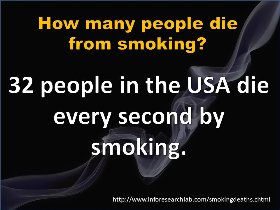 32 people in the USA die every second by smoking.