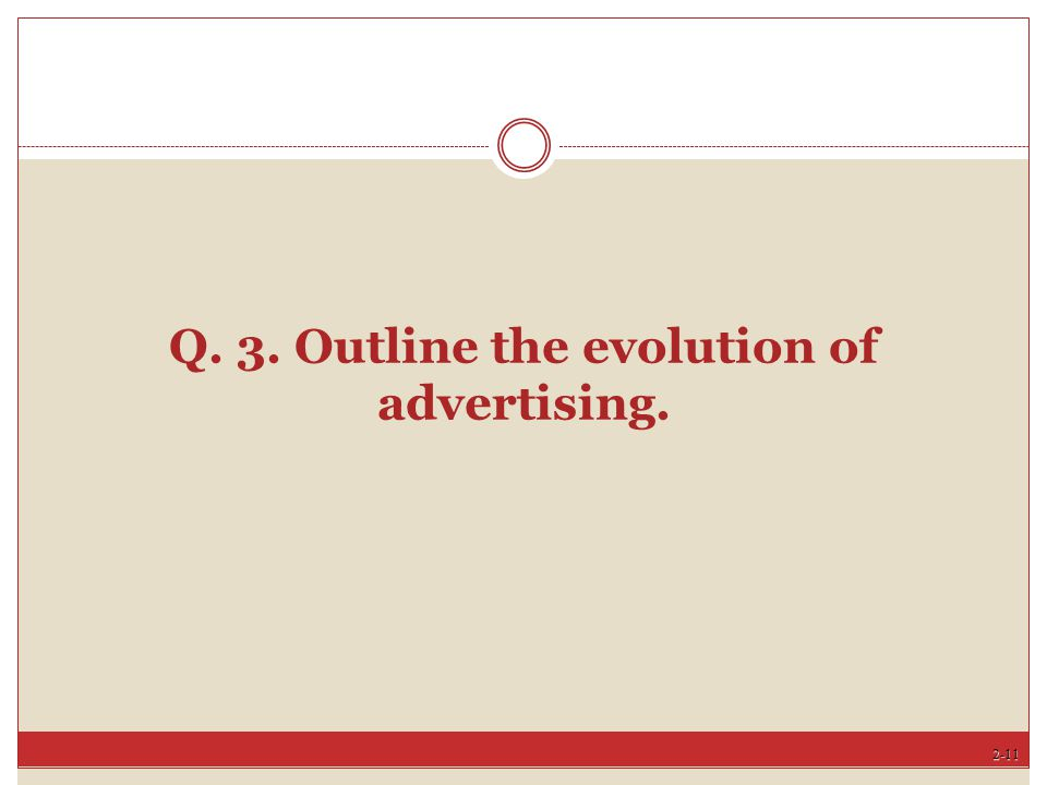 Q. 3. Outline the evolution of advertising.