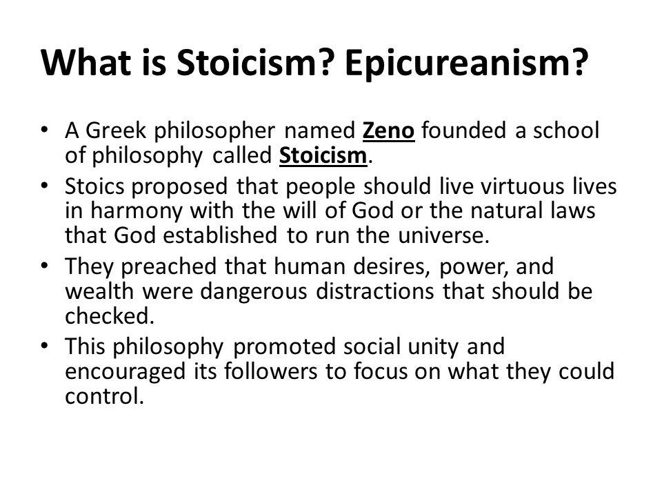 What is Stoicism Epicureanism