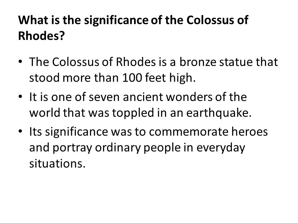 What is the significance of the Colossus of Rhodes