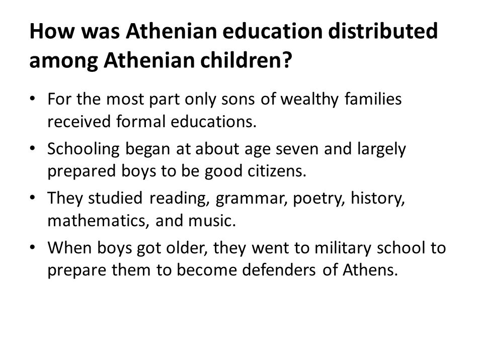 How was Athenian education distributed among Athenian children