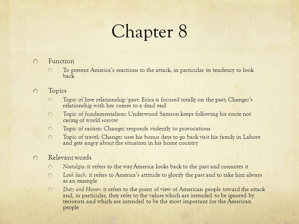 Chapter 8 Function Topics Relevant words