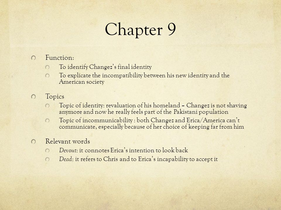 Chapter 9 Function: Topics Relevant words