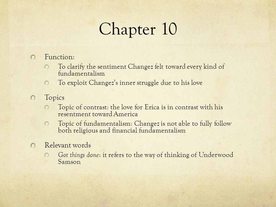 Chapter 10 Function: Topics Relevant words