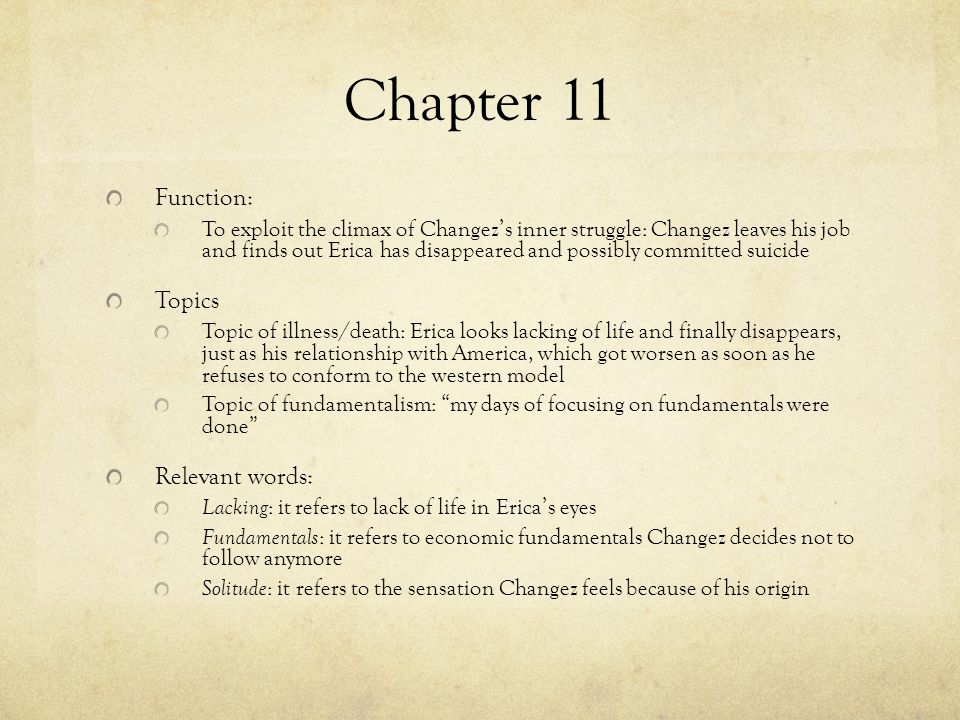 Chapter 11 Function: Topics Relevant words: