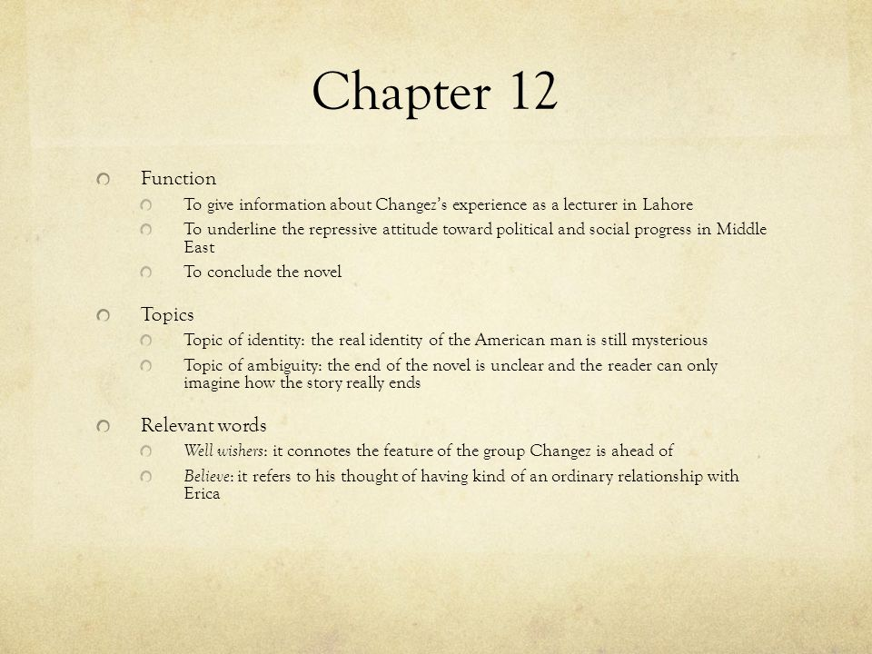 Chapter 12 Function Topics Relevant words