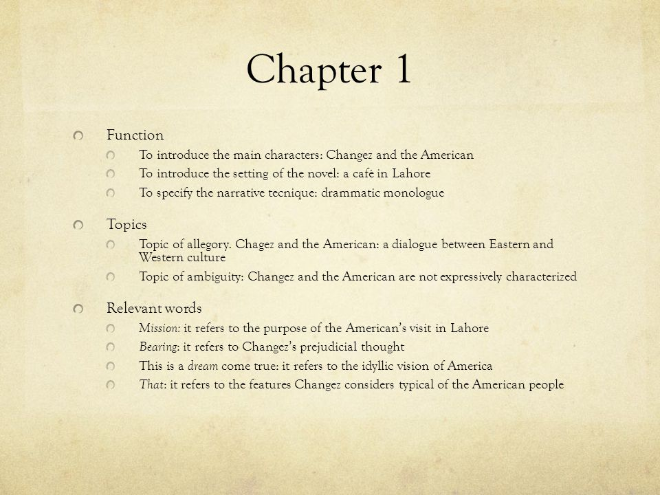Chapter 1 Function Topics Relevant words