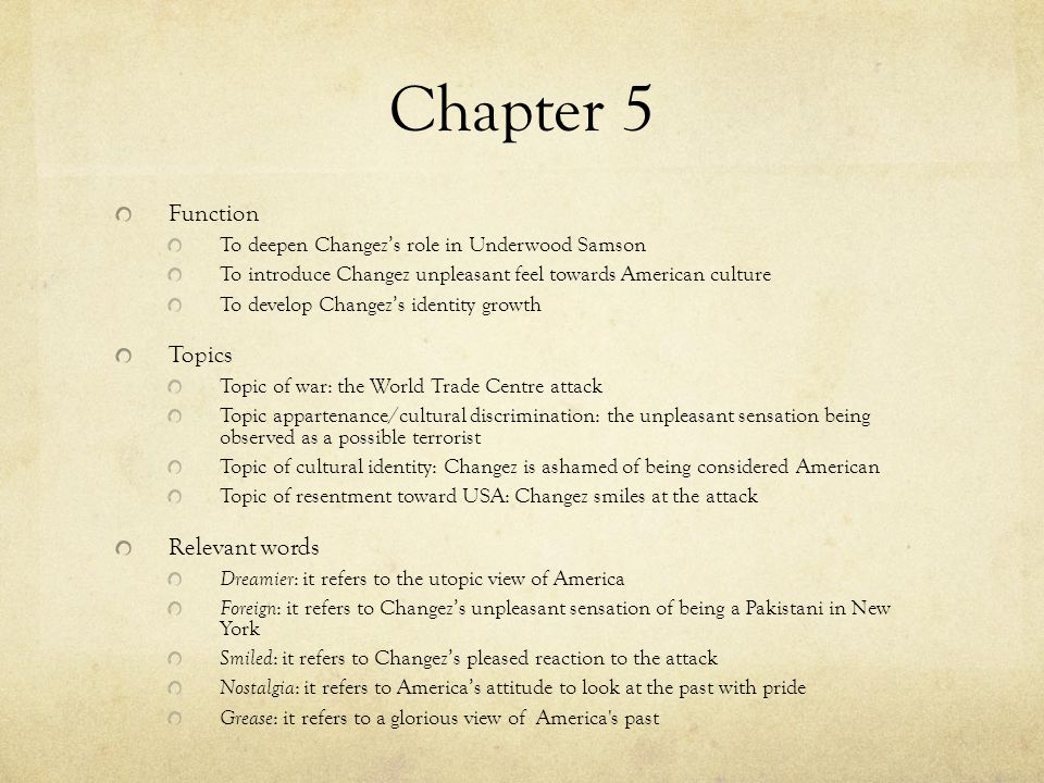 Chapter 5 Function Topics Relevant words
