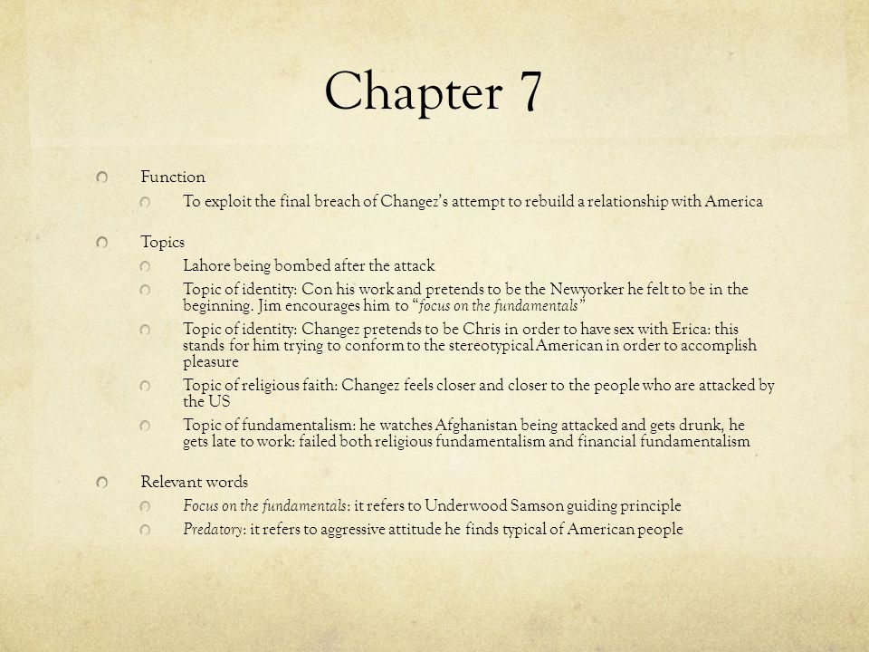 Chapter 7 Function Topics Relevant words