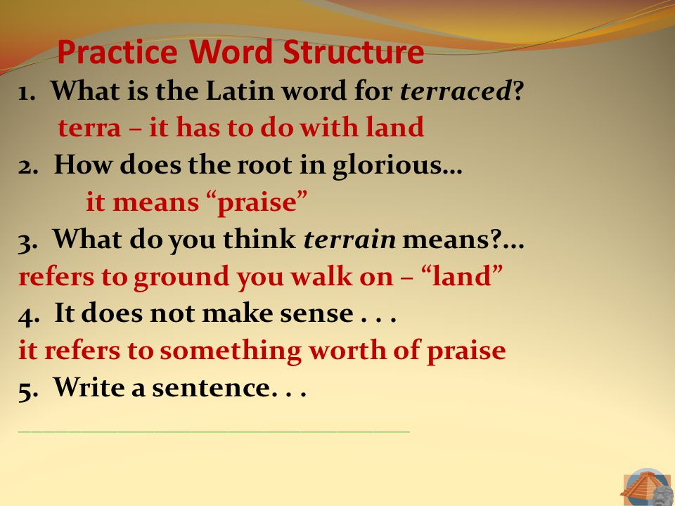 Practice Word Structure