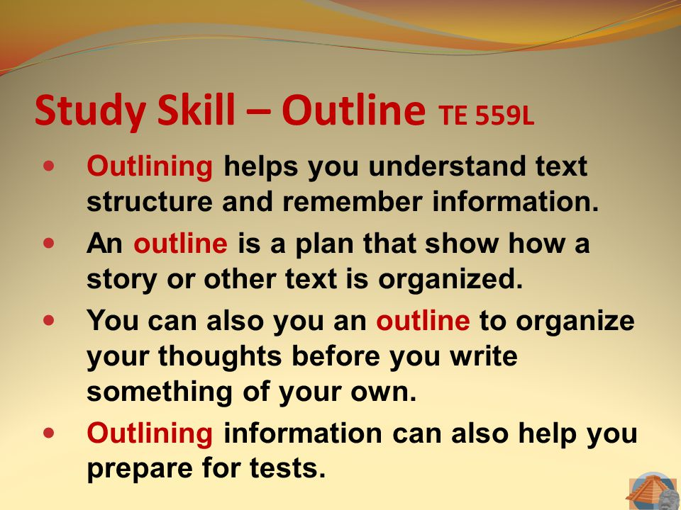 Study Skill – Outline TE 559L