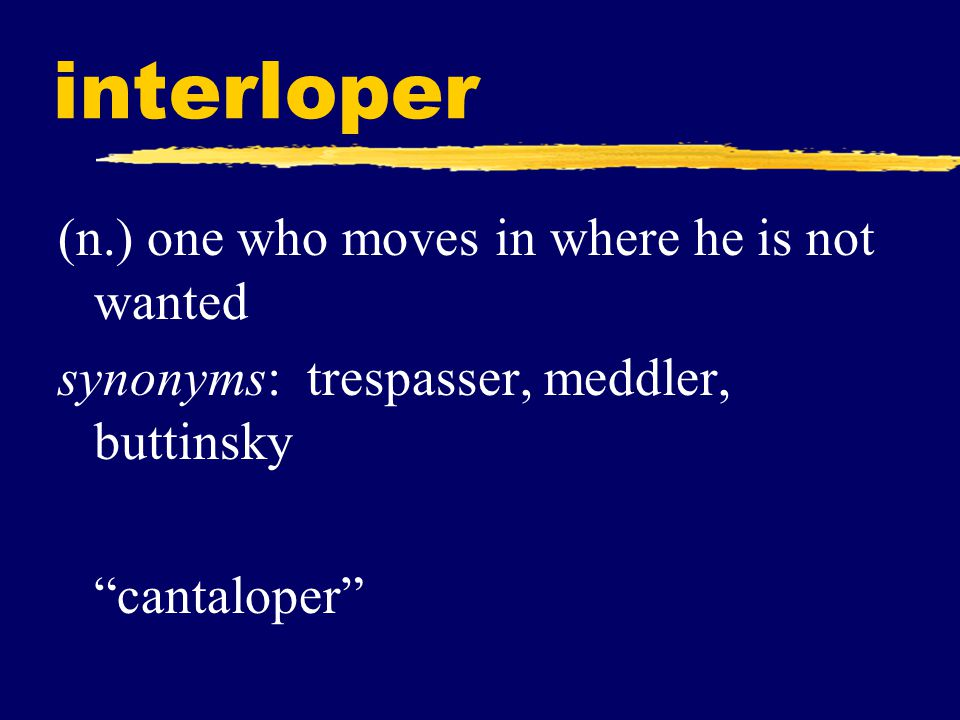 interloper (n.) one who moves in where he is not wanted