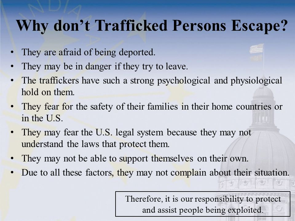 Why don't Trafficked Persons Escape