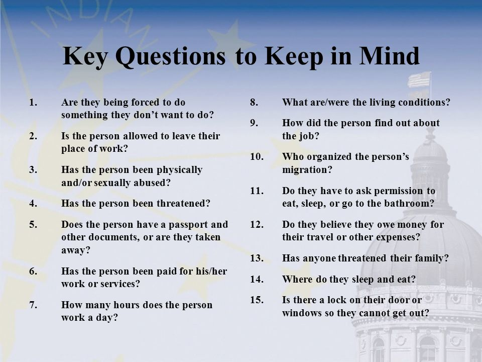Key Questions to Keep in Mind