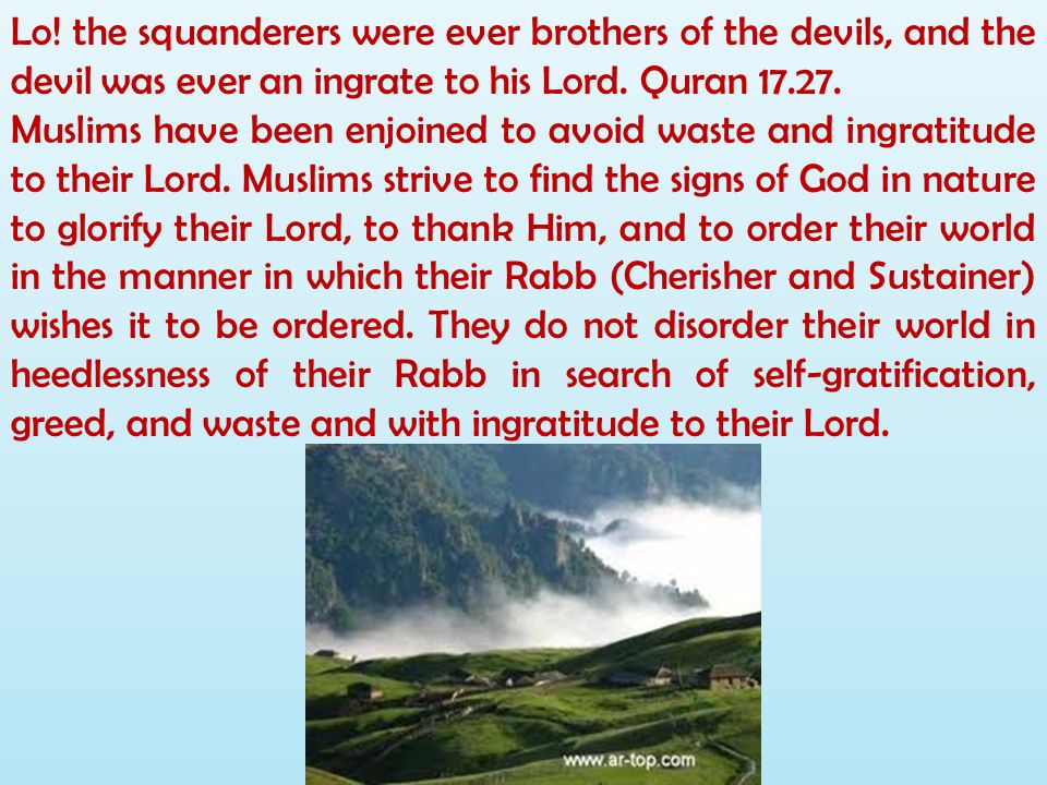 Lo! the squanderers were ever brothers of the devils, and the devil was ever an ingrate to his Lord. Quran 17.27.