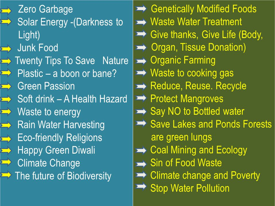 Zero Garbage Genetically Modified Foods Waste Water Treatment