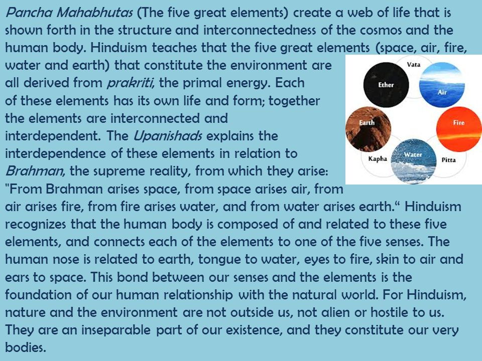 Pancha Mahabhutas (The five great elements) create a web of life that is shown forth in the structure and interconnectedness of the cosmos and the human body. Hinduism teaches that the five great elements (space, air, fire, water and earth) that constitute the environment are
