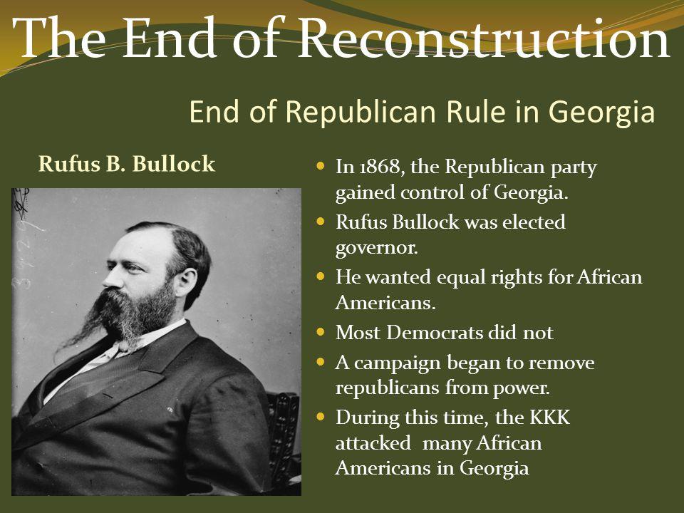 End of Republican Rule in Georgia