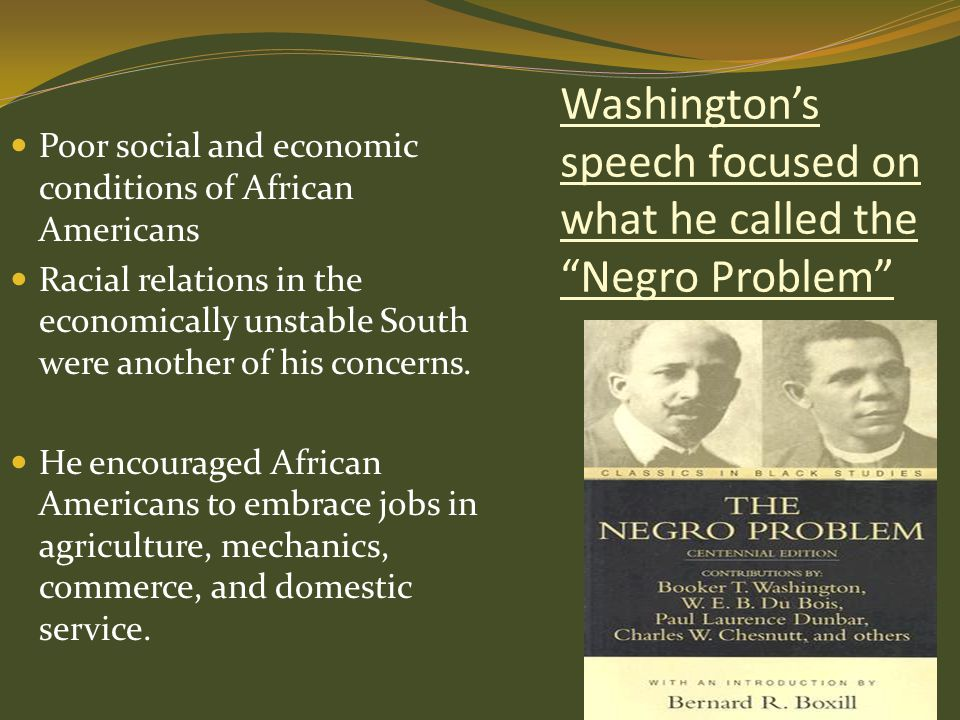 Washington's speech focused on what he called the Negro Problem
