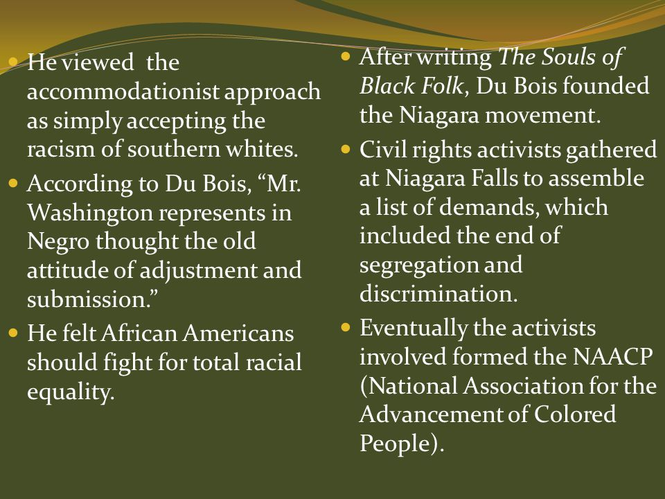 After writing The Souls of Black Folk, Du Bois founded the Niagara movement.