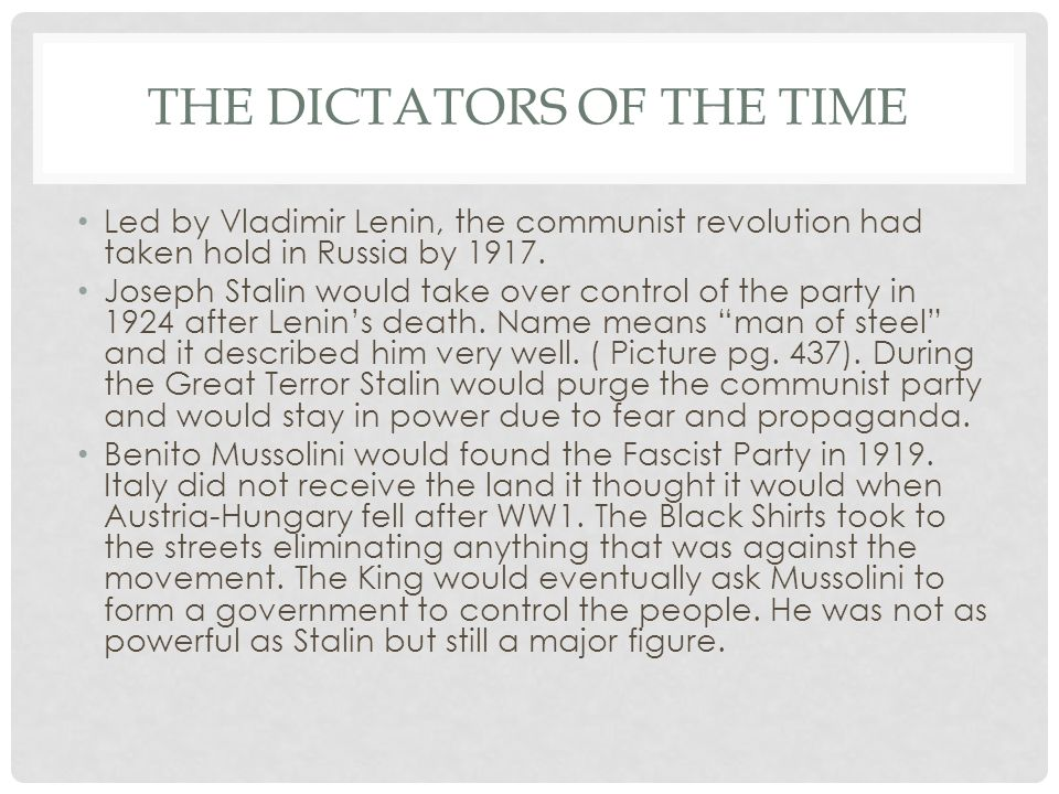 The Dictators of the Time