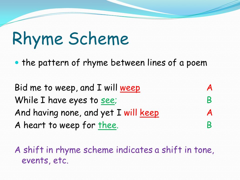 Rhyme Scheme the pattern of rhyme between lines of a poem
