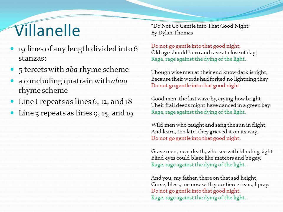 Villanelle 19 lines of any length divided into 6 stanzas: