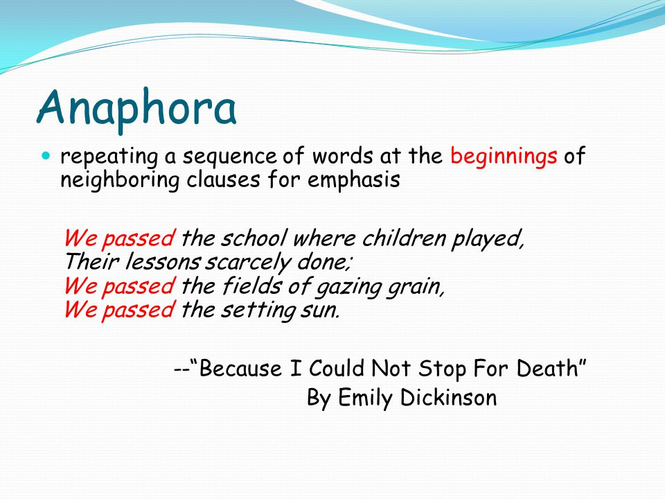 Anaphora repeating a sequence of words at the beginnings of neighboring clauses for emphasis.