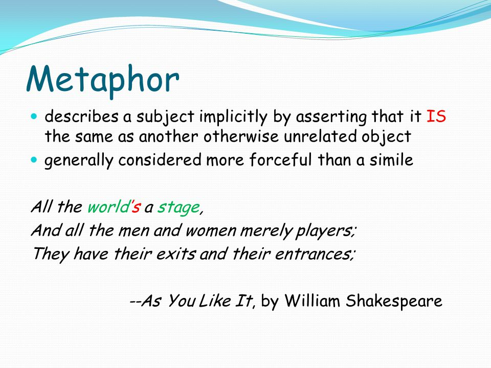 Metaphor describes a subject implicitly by asserting that it IS the same as another otherwise unrelated object.