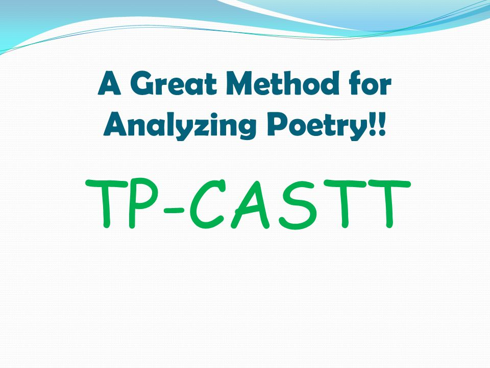 A Great Method for Analyzing Poetry!!