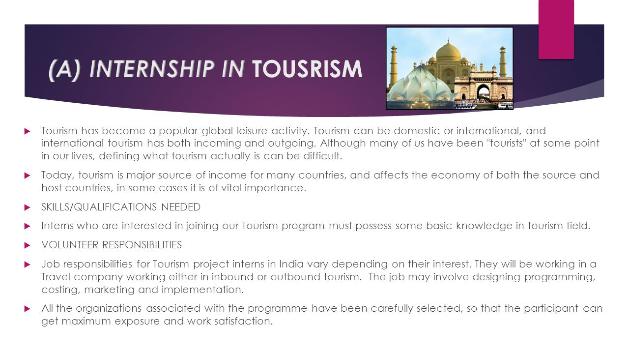 (A) INTERNSHIP IN TOUSRISM