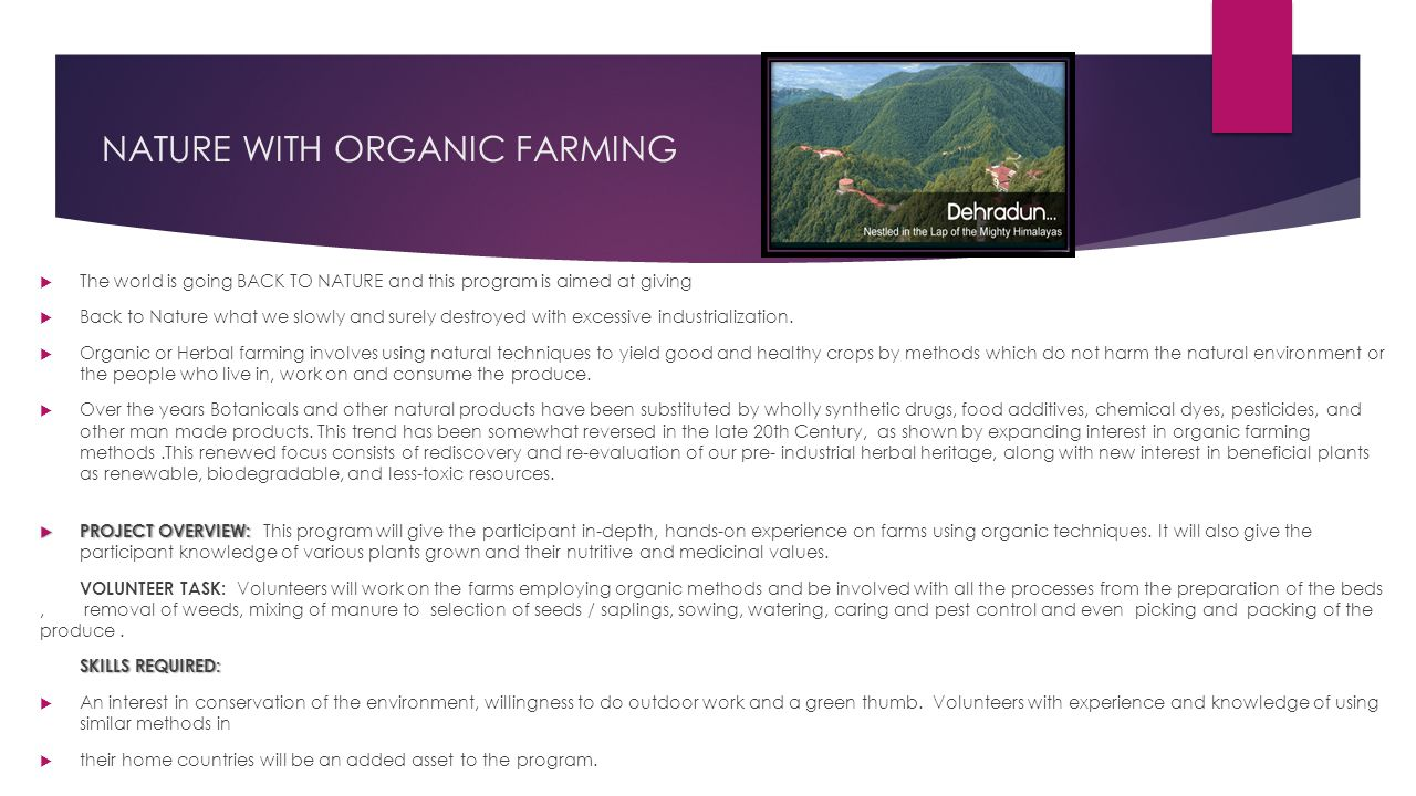 NATURE WITH ORGANIC FARMING