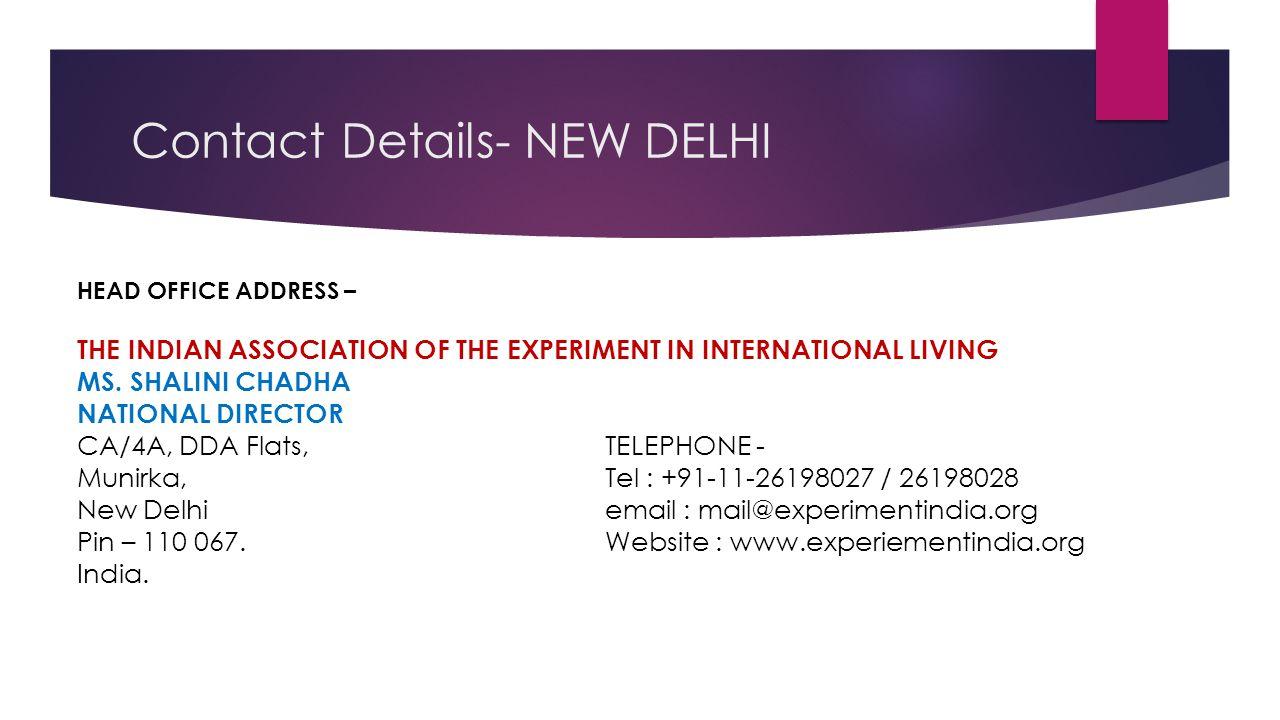 Contact Details- NEW DELHI