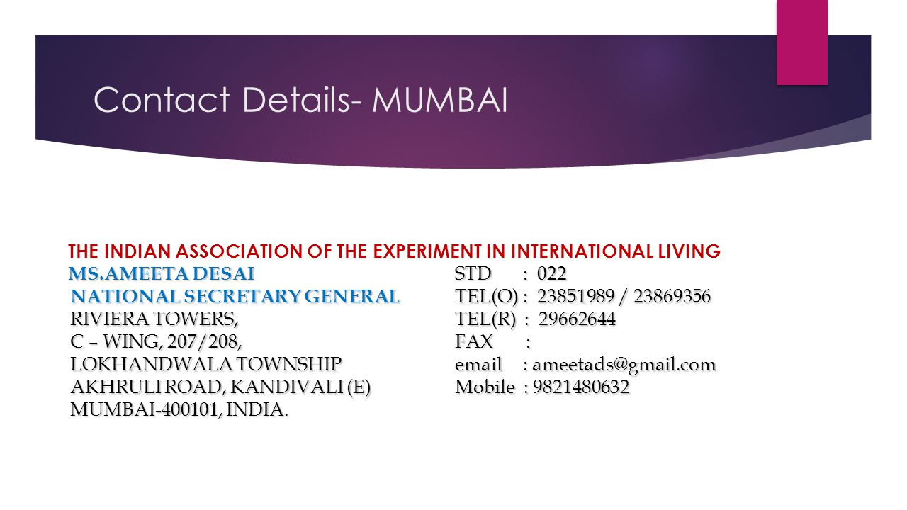 Contact Details- MUMBAI