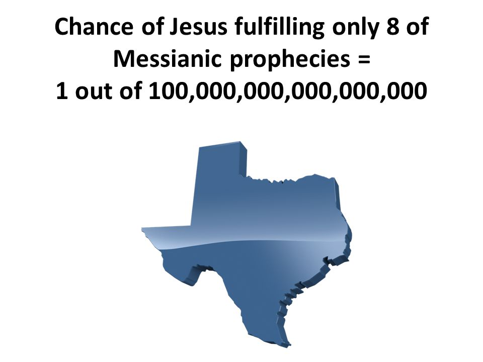 Chance of Jesus fulfilling only 8 of Messianic prophecies = 1 out of 100,000,000,000,000,000