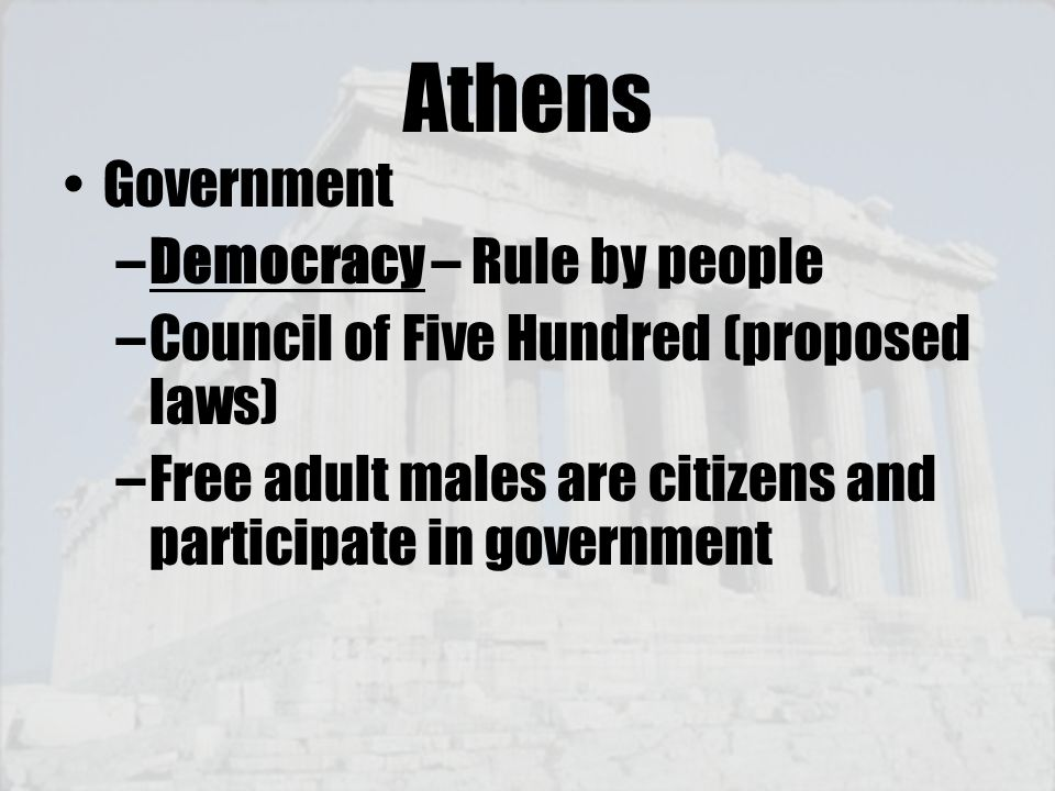 Athens Government Democracy – Rule by people