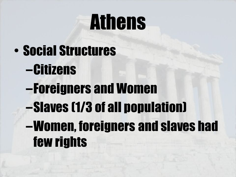 Athens Social Structures Citizens Foreigners and Women