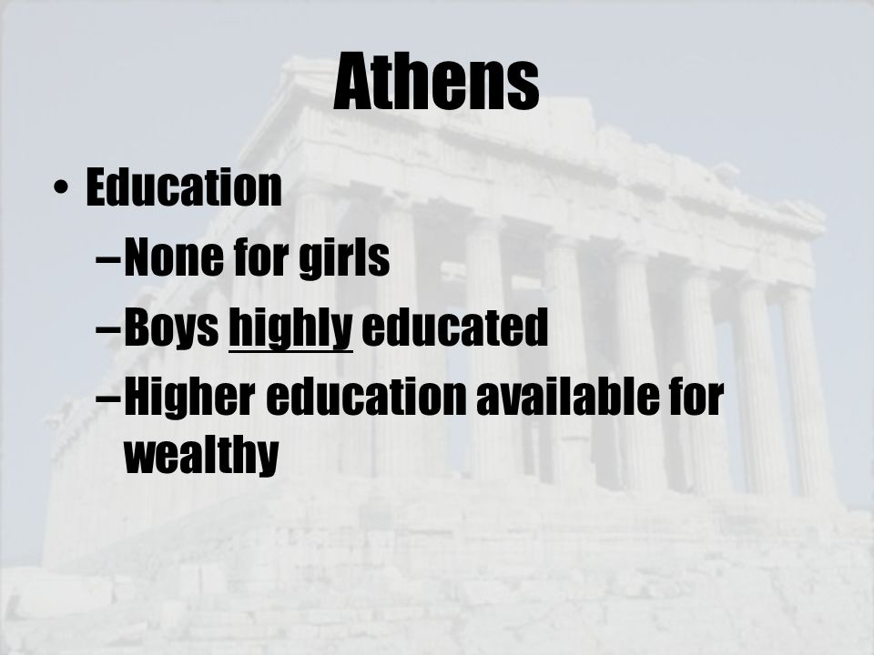 Athens Education None for girls Boys highly educated