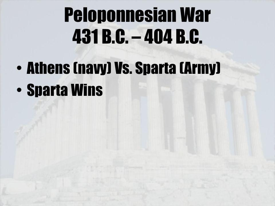 Peloponnesian War 431 B.C. – 404 B.C.