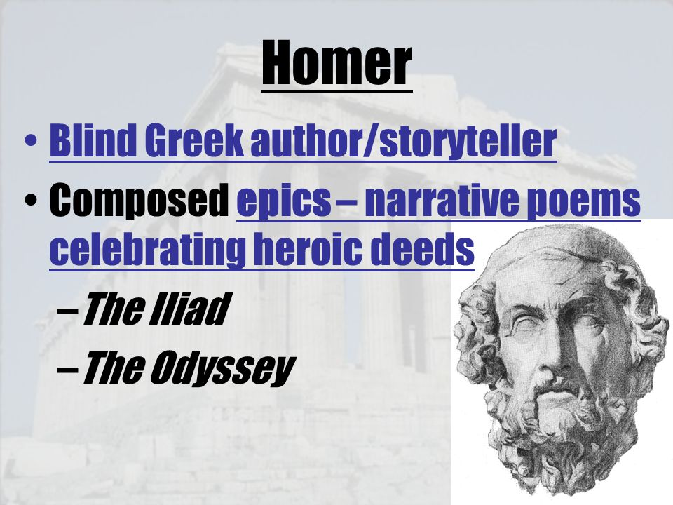 Homer Blind Greek author/storyteller