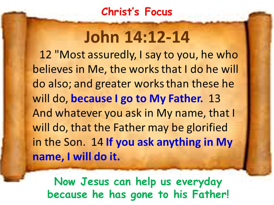 Now Jesus can help us everyday because he has gone to his Father!