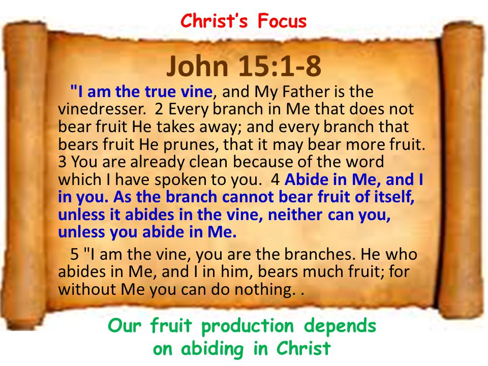 Our fruit production depends on abiding in Christ
