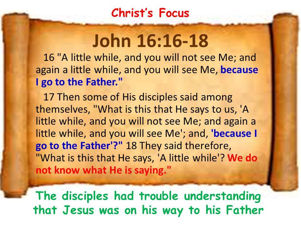 Christ's Focus John 16:16-18.