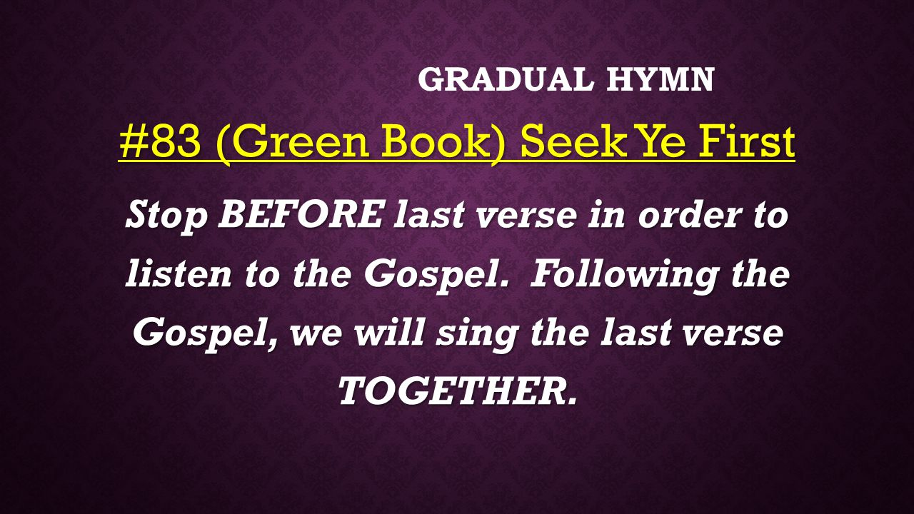 #83 (Green Book) Seek Ye First