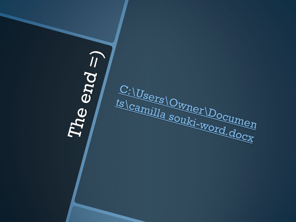 The end =) C:\Users\Owner\Documen ts\camilla souki-word.docx