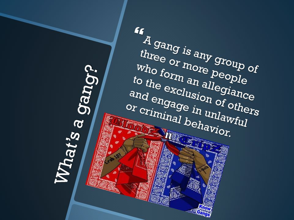 A gang is any group of three or more people who form an allegiance to the exclusion of others and engage in unlawful or criminal behavior.